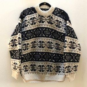 Vintage Handmade Wool Knit Sweater Mens L ? XL ?